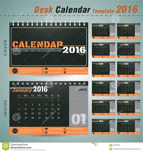 design table calendar 2016 desk calendar 2016 vector design template for new yea