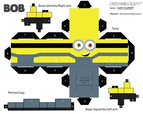 Minion Papercraft - cubeecraft minion bob by donmanny1696 on deviantart