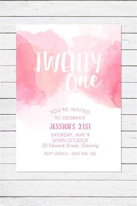 birthday invitation pretty  pink watercolour twenty