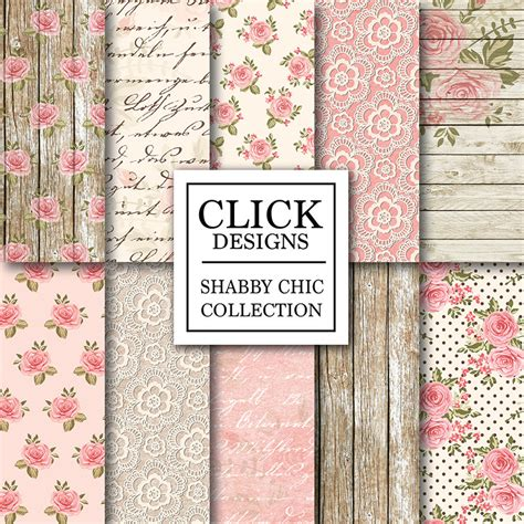 shabby chic digital paper wood lace romantic