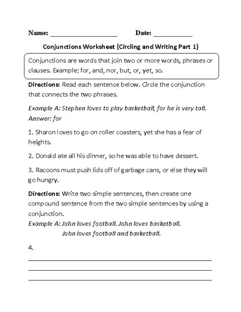printable worksheets subordinating conjunctions 20 best images of free conjunction worksheets first grade