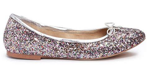 Flat Gliter Silver Rainbow sam edelman felicia glitter ballet flats lyst
