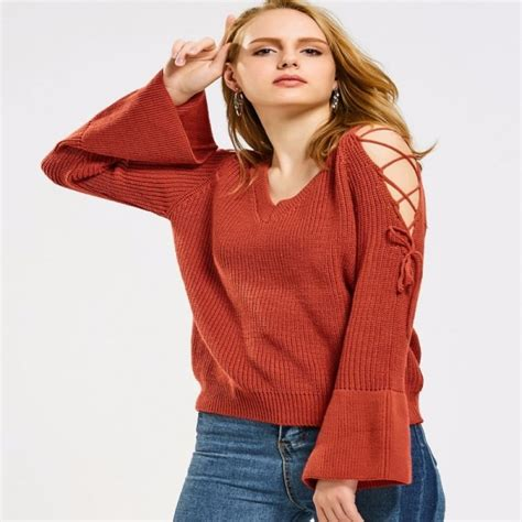 Flare Sleeve Sweater buy flare sleeve lace up sweater jumpers pullovers