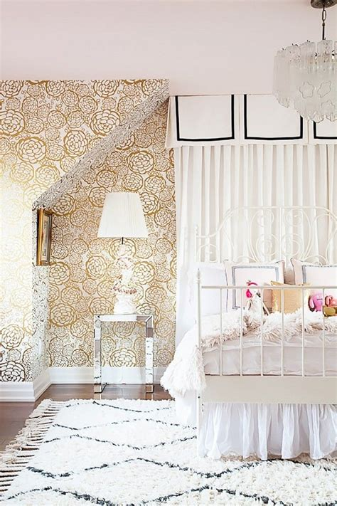 ikea bedroom wallpaper childrens bedroom with gold and white wallpaper and a