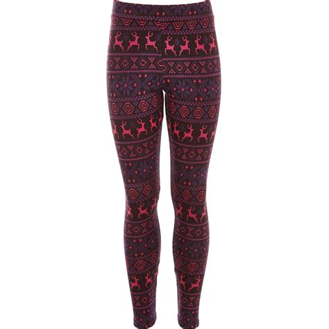 patterned tights river island river island girls pink reindeer jacquard leggings in pink