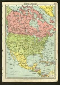 vintage america map original us united states canada
