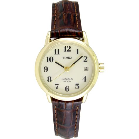 timex womens easy reader brown leather timex