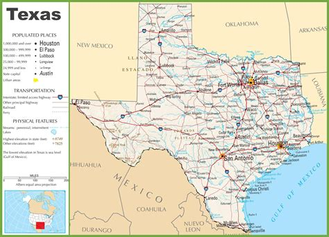 texas state on map texas highway map