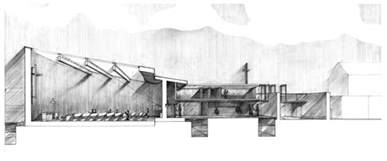 rendered perspective section uj architecture third year