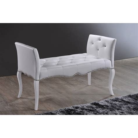 white tufted bench nailhead tufted leather bench modern furniture