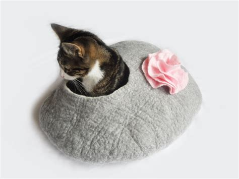 cat cave bed cat bed cat cave cocoon house felted grey with flower and free