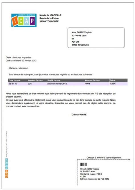 Exemple De Lettre Facture Modele Relance Facture Impayee Document
