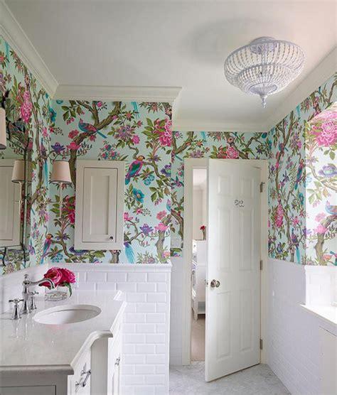 floral royal bathroom wallpaper ideas  small white