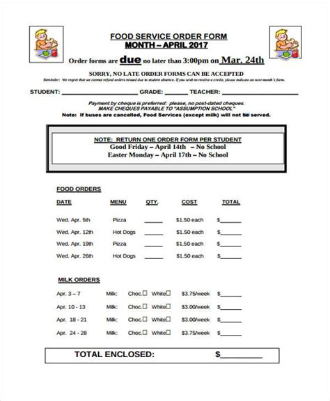 breakfast order form template 28 service order form templates