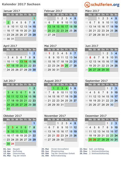 Druckversion Kalender 2017 Kalender 2017 Ferien Sachsen Feiertage
