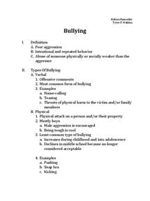 School Bullying Essay by Bullying Outline Bullying