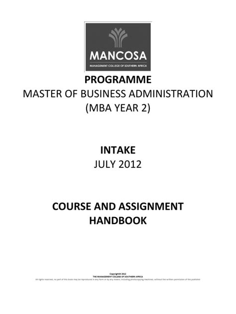 Athabasca Executive Master Of Business Administration Mba by Mba Year 2 July 12 Caah New For Print Pdf Master Of