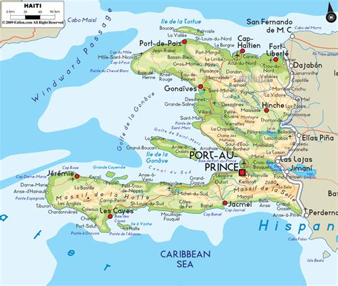 map of haiti physical map of haiti ezilon maps
