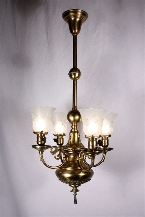 Antique Brass Chandeliers For Sale by Splendid Antique Four Light Brass Chandelier