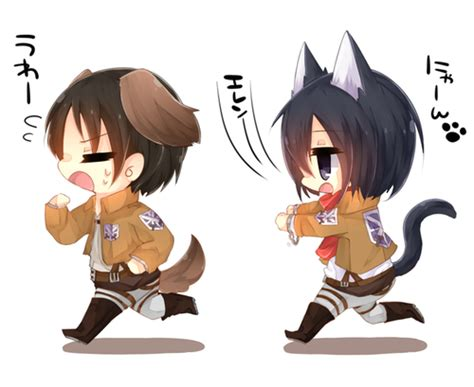 imagenes kawaii anime chibi kawaii eren and mikasa 3 on we heart it