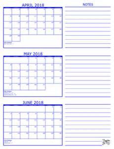 2018 Calendar By Month 3 Month Calendar 2018