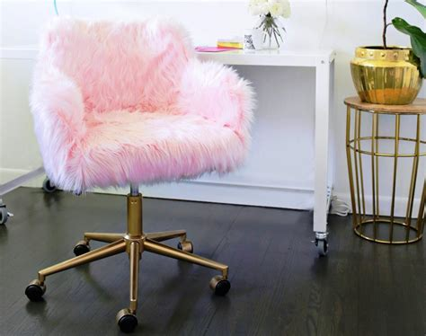 cool desks for girls desk chairs for teens pb teen himalayan ivory faux fur