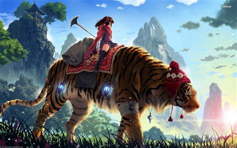 anime wallpaper tiger girl riding a tiger wallpaper pretty anime wallpaper