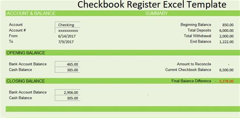 Checkbook Register Template Excel by Checkbook Register Template Free Spreadsheettemple