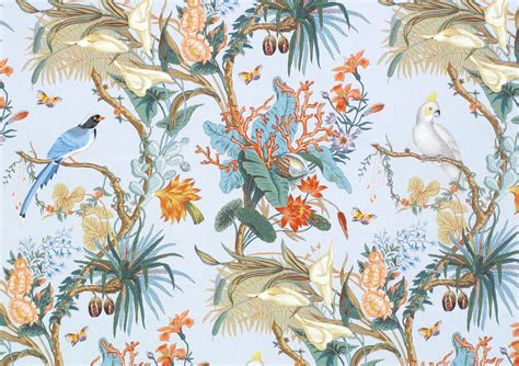 Home Decor Fabric By The Yard by Designer Tropical Cockatoo Blue Jay Birds Calla Lily Toile
