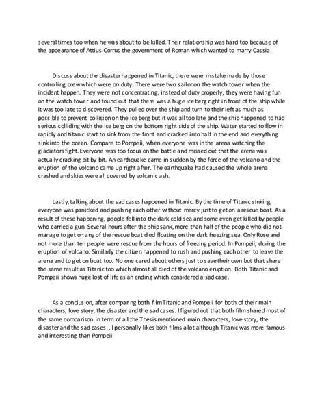 Titanic Essays by Compare Essay Between Pompeii And Titanic