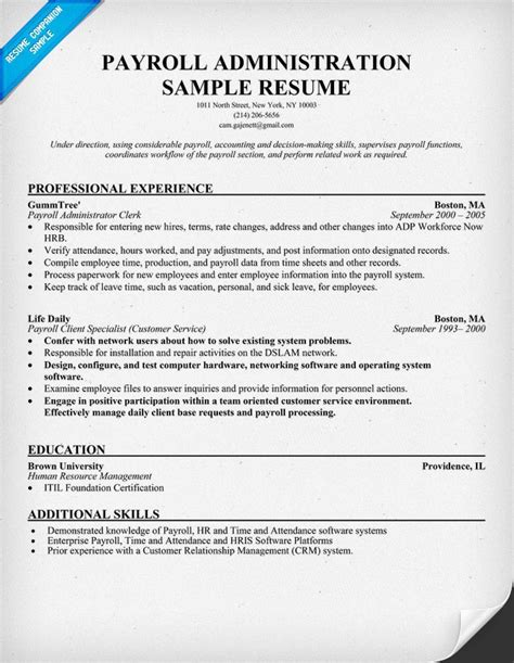 payroll resume template payroll processor resume exles