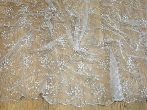 Above Delicate Lace Hand Beaded With Hundreds Of Glass Beads Soft | delicate beaded scalloped edge couture bridal lace fabric