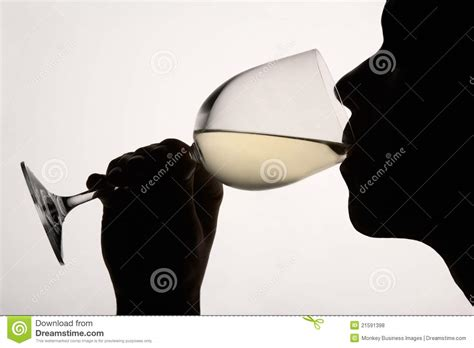 wine silhouette silhouette woman drinking white wine royalty free stock