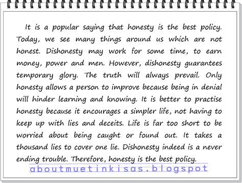 Essay About Honesty by Muet Kisas May 2012