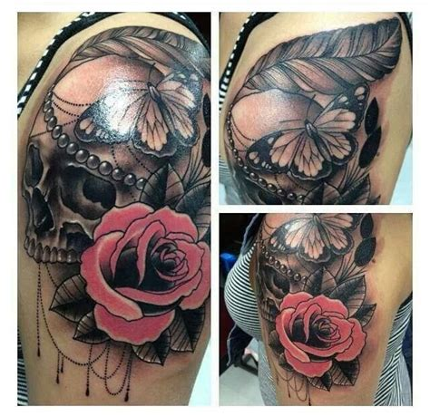 awesome rose skull tattoo tattoos and wild color hair