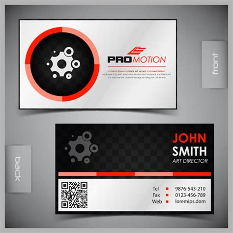 card template with front and back modern business cards front and back template vector 04