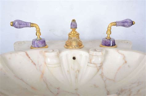 marble pedestal sink sherle wagner marble pedestal sink with gold plated purple quartz fittings at 1stdibs