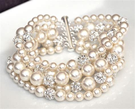 pearl cuff bracelet chunky wedding bracelet by