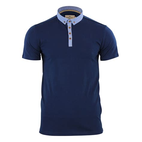 Casual Top mens polo t shirt brave soul chimera chambray collared
