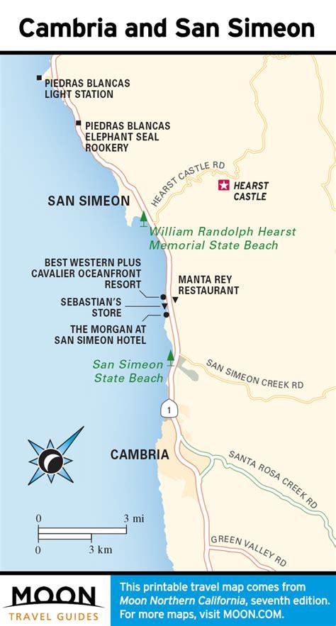 san simeon california map pacific coast route san simeon hearst castle ca road