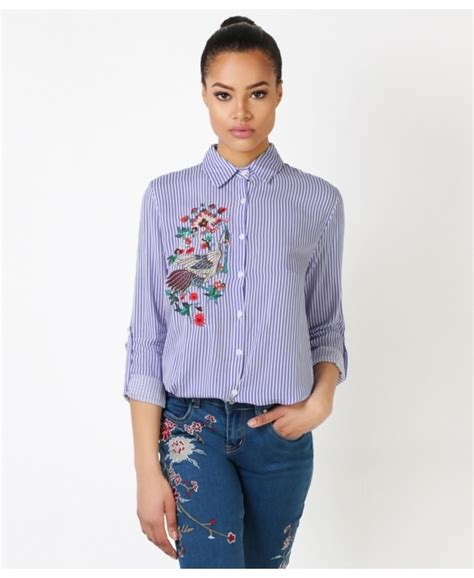 Embroidered Striped Shirt tops flower embroidered striped shirts krisp
