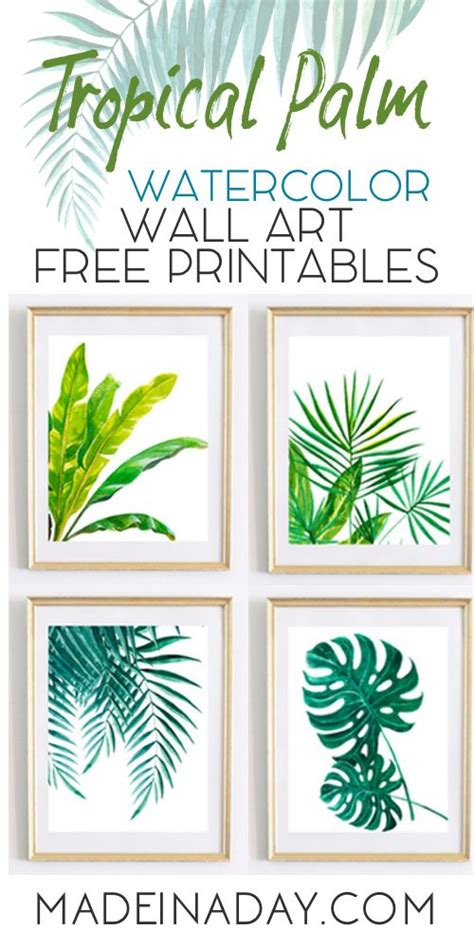free printable home decor art looking for tropical palm watercolor wall art printables