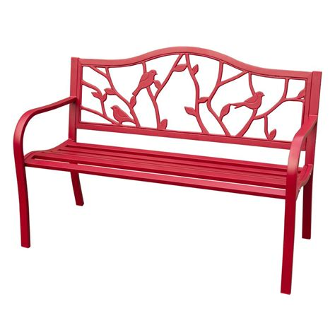 lowes outdoor bench shop garden treasures 50 4 in l steel iron patio bench at