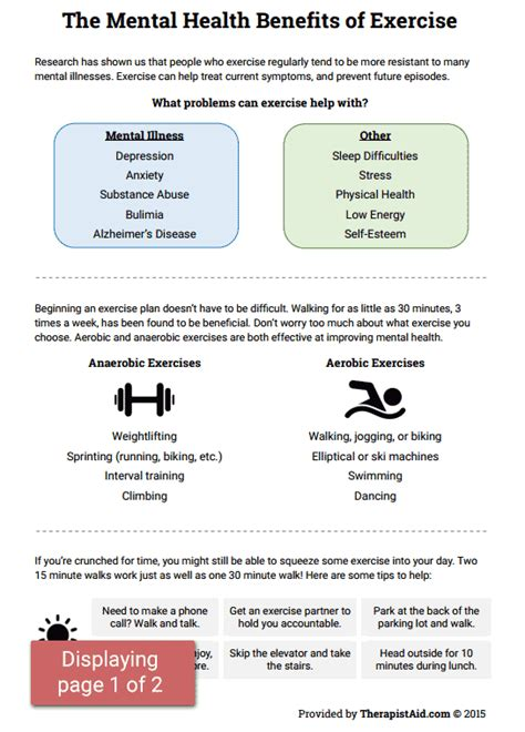 mental health worksheets pdf mental health benefits of exercise worksheet therapist aid