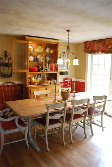 faux painted harlequin rustic antique farm table kitchen
