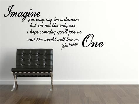Bedroom Wall Quote Stickers Uk Lennon Imagine Wall Sticker Quote