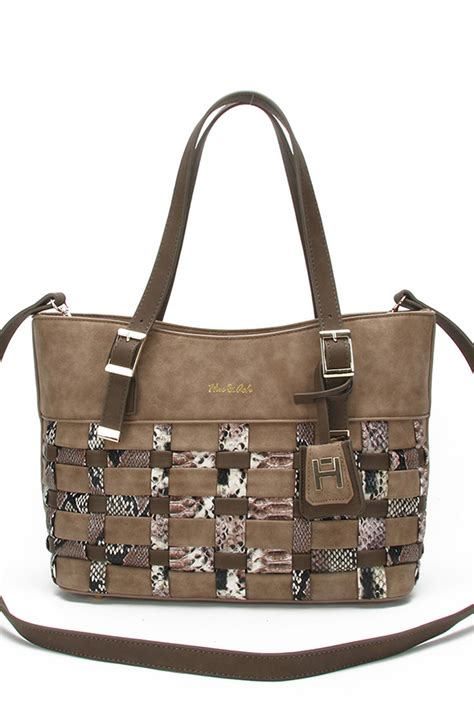 New Arrival Longch Snake Print Small Bag Rt snake skin and solid stitched tote handbag with