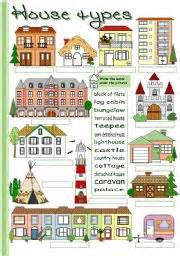 list of diffent style of homes esl worksheets for beginners house types