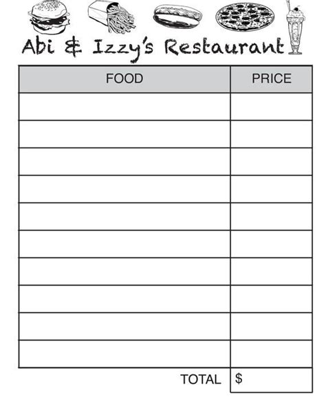 printable waitress order pads