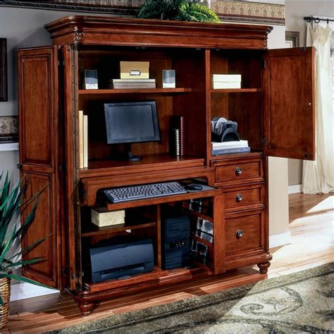 Dmi Antigua Wood Computer Armoire In Cherry Computer Office Furniture Wardrobe